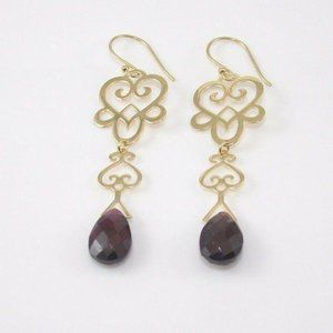18K Gold Tourmaline Scroll Heart Earrings